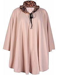 Womens Animal Faux Fur Collar Ladies Tie Neck Stretch Drawstring Fleece Poncho Cape Coat Plus Size