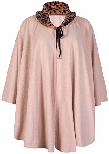 Purple Hanger - Cape Poncho Pour Femmes Encolure Fausse Fourrure Animal Cordon Cou Grande Taille Crème