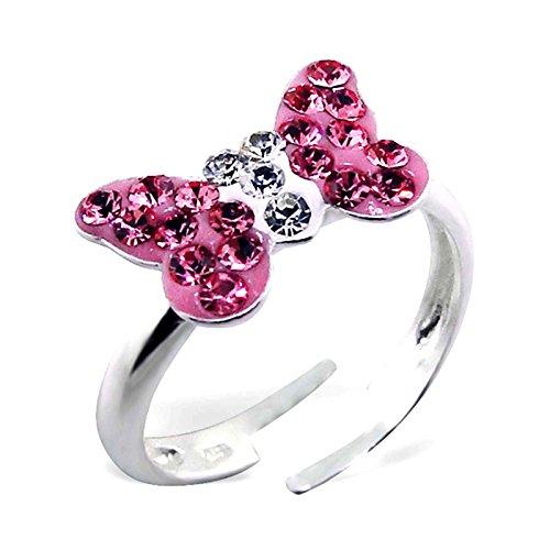 SL-Silver Kinderring Ring Schmetterling Kristalle pink-weiss Grösse einstellbar 925 Silber