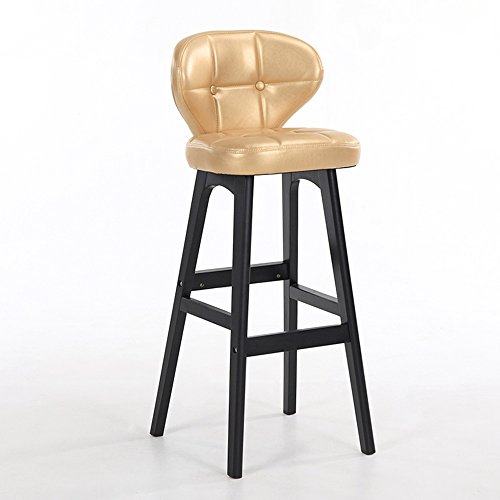 Barhocker - Europäische Massivholzkaffee Stuhl/Esszimmerstuhl/Barhocker/Kassenstuhl/Möbel Stuhl (Multicolor optional) (Farbe : Gold, größe : 43*40*102cm) (Gold Frühstück Kissen)