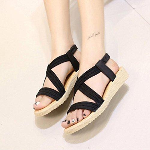 Scarpe della Boemia delle donne piatte Vovotrade Elasticità per il tempo libero Lady sandali peep-toe scarpe da esterno Nero