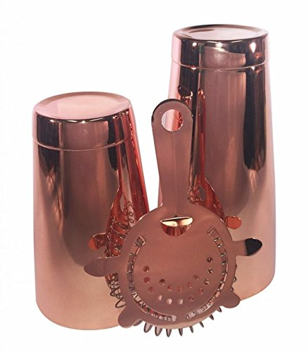 BarBlades Boston-Cocktail-Shaker-Set aus Kupfer, 759-ml-Behälter, 511-ml-Standardglas und Sieb mit 4 Zinken, professionelles Barkeeper-Set -