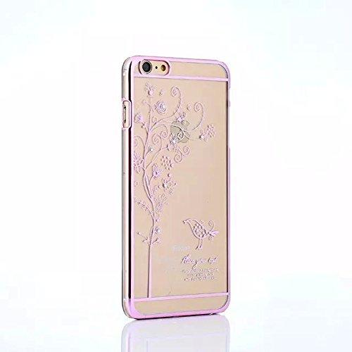 iPhone 6Plus/iPhone 6S Plus 14cm Transparent Coque PC, newstars Boîtier PC Coque arrière rigide transparent avec design papillon Motif oiseau diamant bling Glitter Argent Or Plaqué avec Bumper pour  Bird tree Pink