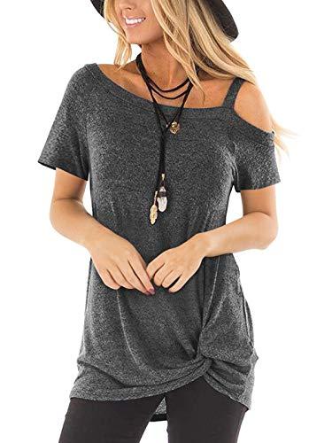 Aswinfon Oberteile Damen Kurzarm Sommer Sexy Schulterfrei Top T-Shirt Frauen (Dunkelgrau, L)