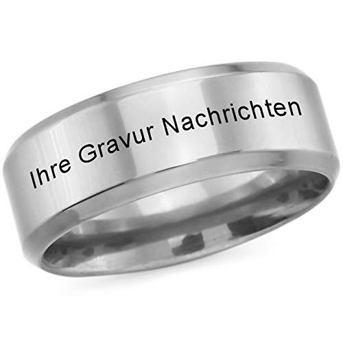 MeMeDIY Silber Ton Polished Edelstahl Ring Größe 70 (22.3) Gravur