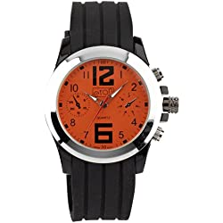 Mens Black Rubber Orange Dial Chronograph Design Eton Watch - Gents Fashion Watch