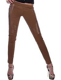 Damen Röhrenhose Leggings Hüft Hose mit Lederlook-Details in 3 Farben und 2 Modellen 36 S / 38 M / 40 L / 42 XL / 44 XXL