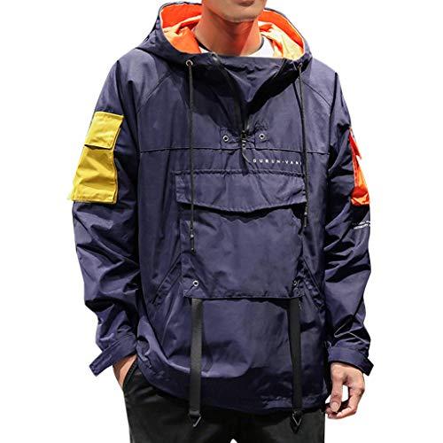 Fenverk Bennhood Herren Kapuzenpullover Hoodie Pullover Mit Kapuze Herbst Winter Sweatjacke Casual Patchwork Jacke Mantel Sweatshirt M-5XL (Marine,M)