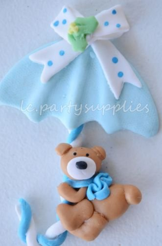 1 Umbrella Teddy Bear Baby Shower Cake Topper Decoration Party Supply Pink/Blue Blue (Bear Teddy Sexy)