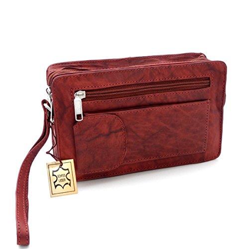 Bag Street Leder - exquisite Leder Herren Handgelenktasche , Herrentasche , Handtasche , Handgepäck-Tasche ( Braun - Doppelkammer ) - präsentiert von ZMOKA® (Leder Handtasche Tasche Elfenbein)