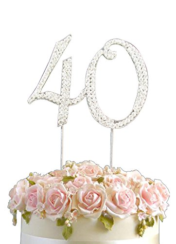 Strass Geburtstag Jahrestag Kuchen-Deckel Nummer 40. Diamante Edelstein -Dekoration Pick - 40 (Geburtstag-kuchen-deckel 18)