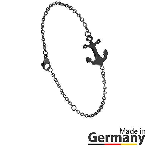 ANKERPUNKT Anker Armband schwarz Frauen Armband Größenverstellbar Made in Pforzheim (Goldstadt)