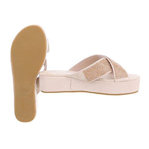 Pantoletten Damenschuhe Jazz & Modern Leichte Ital-Design Sandalen / Sandaletten Altrosa