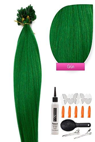 Extensions 100% Remy Echthaar Haarverlängerung (#grün - 25 Strähnen 1 g - 45 cm) U-Tip Extention Remy Qualität by Glamxtensions (Grüne Hair Extensions)