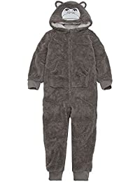 OneZee Kids Snuggle Soft Hooded Gorilla All in One Grey