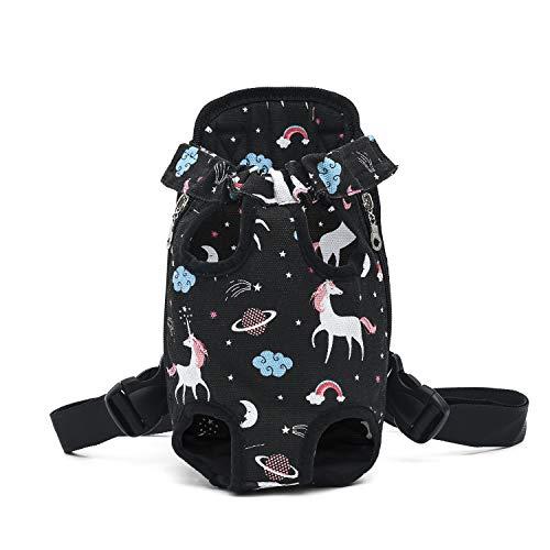 DJG Schulteratmungsaktiver Pet Carrier Rucksack, tragbare Pet Chest-Reisetasche Easy-Fit für Reisen, Wandern, Camping für kleine, mittelgroße Hunde-Schwarz,M