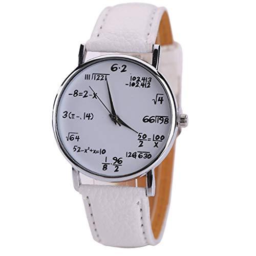 Matemáticas de Reloj Estudiantes Reloj de Pulsera Student Boys Girls Watch con matemáticas Ecuaciones Esfera Plate Piel Banda Reloj de Pulsera (Blanco)