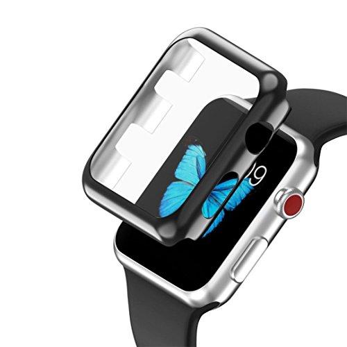 samLIKE Ultra-Slim Electroplate PC Hartschalenetui für Apple Watch Series 3 42mm (Schwarz)