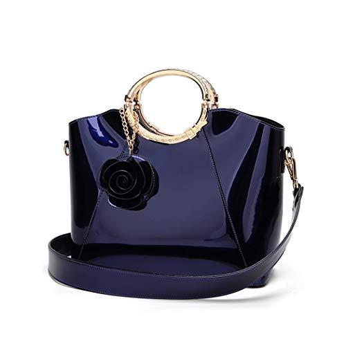 XIAOXINYUAN Frauen Umhängetasche Weibliche Glänzend Lässig Umhängetasche Damen Große Kapazität Handtasche Blau