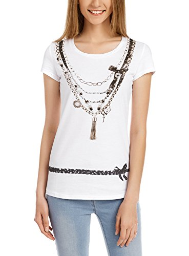 oodji Ultra Damen Rundhals T-Shirt mit Druck und Strasssteinen Weiß (1029P)