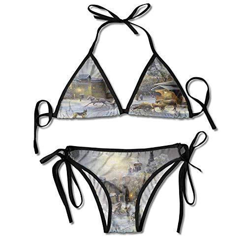 Women's beachwear bikini,western town at night sexy bikini 2 pieces