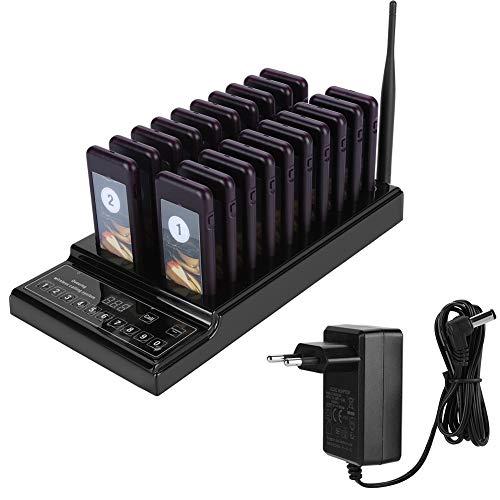 Paging-einheit (Hongzer Guest Paging System, 433,92 MHz Queue Calling System mit 999-Kanal-20-Empfängern mit 3 Anzeigemodi, perfekt für Restaurant Shop Cafe(EU))