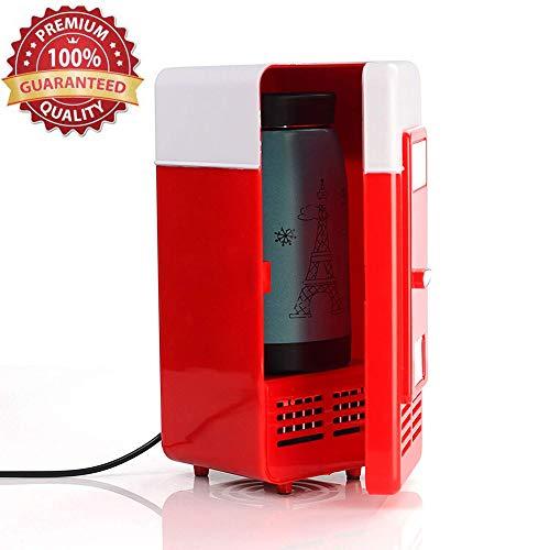 Lychee Tragbar Mini USB Kühlschrank 5V Getränke Bier Getränkedosen Kühler Gefrierschrank(Mini Kühlschrank 19.4×9×9cm) (Rot)