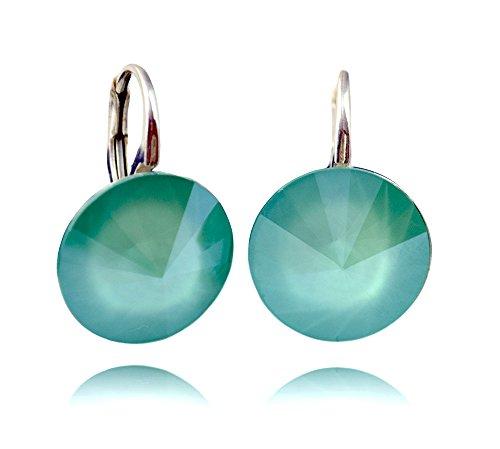 Crystals & Stones *Mint Green* *RIVOLI* 14 mm - Schön Ohrringe Damen Ohrhänger mit Kristallen von Swarovski Elements - Wunderbare Ohrringe mit Schmuckbox