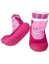C2BB - Chaussons-chaussettes bébé antidérapants semelle souple fille   Rose noeud blanc