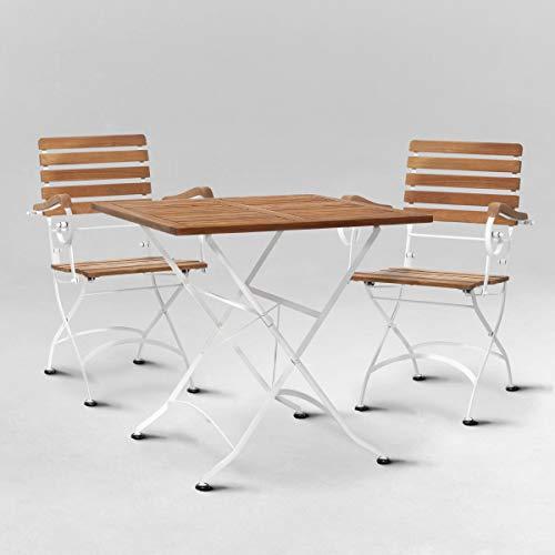 BUTLERS Parklife Gartenmöbel Set aus Holz 80x80x75 cm - Balkon-Tisch und 2 Stühle mit Lehne aus FSC-Akazienholz und Metall verzinkt weiß - Holztisch für Balkon oder Terrasse