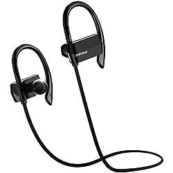 Mpow Auriculares Bluetooth 4.1 Deportivos, Tiempo Largo de Reproducción, Cascos Manos Libres para Correr compatable con Móvil iPhone 6 6s 7 y Huawei Android Auriculares de Deporte para Correr Running Headphone para Móvil