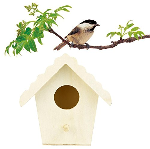 squarex Repos Maison en Bois pour Oiseaux – Peut Abriter à partir de Temps Froid – DIY Nest DOX Nest House Bird Box, idéal pour Finch et canari AS Show E (Size: 9.5x9cm)