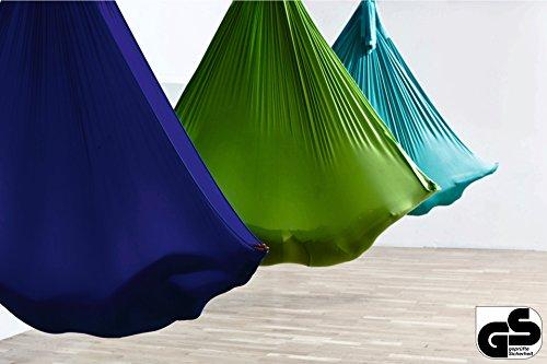 Aerial-Yoga-Tuch im Set inkl. Zubehör für Yoga, Fitness, Pilates, Wellness - Originalhersteller, sicherheitsgeprüft, 32 Farben - Schwarz
