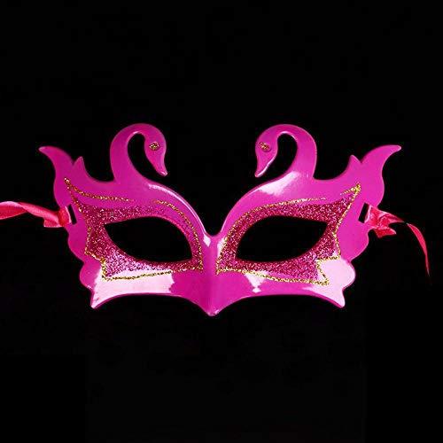ZHOUHAOJIE Prom Mask_Halloween Make-Up Neue Spitzenmaske Perle Feder Rote Maske Halbes Gesicht Prinzessin Maske Augenmaske (Halbe-gesicht Einfach Halloween-make-up)