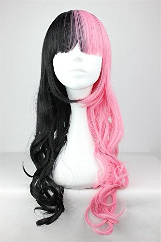 LanTing Cosplay Perücke Cosplay Full Wig Heat Resistant Fiber Black Mix Pink Cosplay Party Fashion Anime Human Costume Full wigs Synthetic Haar Heat Resistant Fiber (Little Mix Halloween Kostüme)