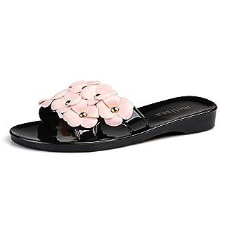 RDJM Femmes Pantoufles Sandales Open-Toe Easy Slip-On All Comfort Jour Pour La Maison, Belle Décoration Florale,Black,38