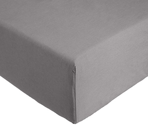 AmazonBasics 'Everyday' Spannbetttuch aus 100%, Baumwolle, 160 x 200 x 30 cm - Dunkelgrau