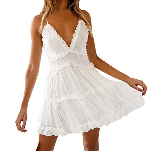 Vestidos Boho para Mujeres, Playa Vestidos Blancos sin Mangas Vestido Corto Escotado por Detrás con Borde de Volante Dobladillo Plisado Vestidos por Encima de la Rodilla de Fiesta Bodas