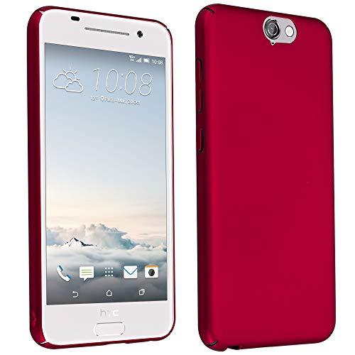 Cadorabo Hülle für HTC One A9 - Hülle in Metall ROT – Hardcase Handyhülle im Matt Metal Design - Schutzhülle Bumper Back Case Cover