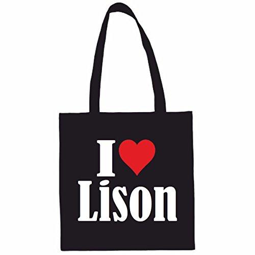 Sac à Bandoulière I Love Lison Shopping Bag Sac d'école Sac de Sport 38x 42cm en Noir ou Blanc.. Le cadeau parfait pour votre amoureux