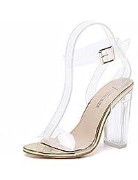 e725fdccaa9f High Heels Sandaletten Transparente Knöchelriemchen Sandalen Absatz cm  Offene Abendschuhe Kristall Damen