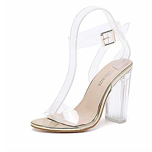 Transparent High Heels Sandaletten Durchsichtig Offene Sandalen Absatz Abendschuhe Knöchelriemchen Pumps Damen Golden 39