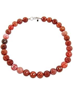 Yvesse Damen-Collier Halskette Sterling-Silber 925 rhodiniert Feuerachat