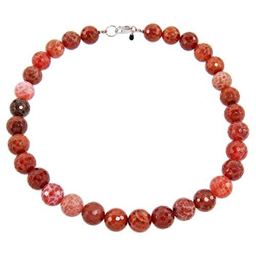 feuerachat Yvesse Damen Collier Halskette für Frauen Sterling Silber 925 rhodiniert Feuerachat Achat orange rot Geschenk