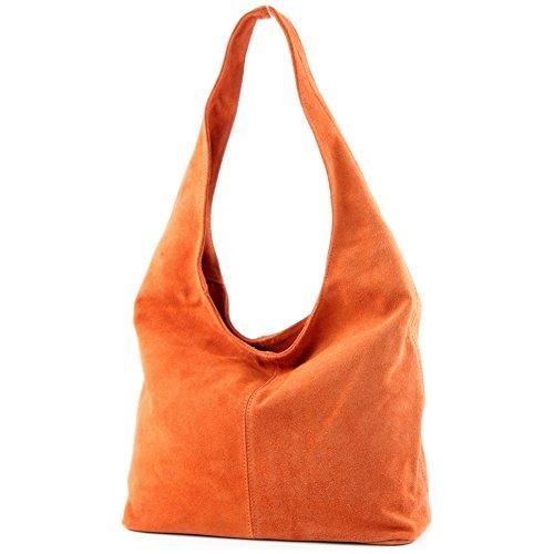 modamoda de - ital. Ledertasche Umhängetasche Schultertasche Damentasche Wildleder T150 Orange
