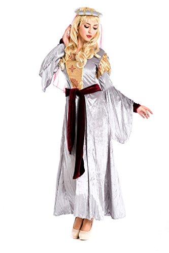 shoperama Mittelalter-Kostüm BURGFRÄULEIN SILBERGRAU/GOLD Gr. ()