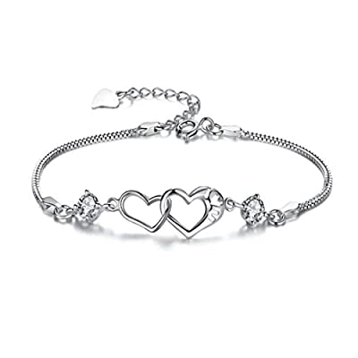 Oyedens Fashion Style Love Heart Bangle Cuff Bracelet Crystal Rhinestone Jewelry Gift