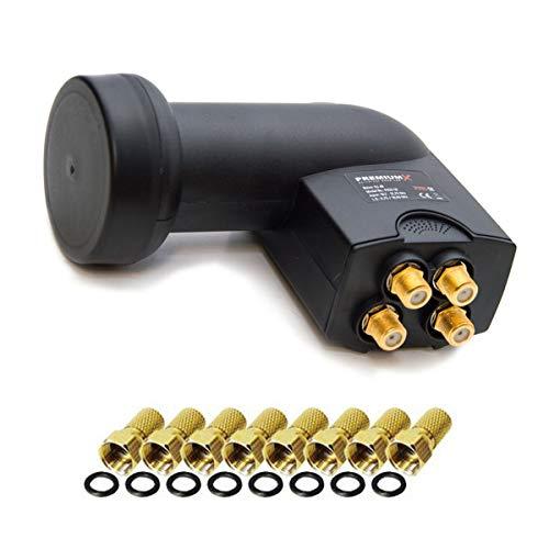 Quad LNB 0,1 dB PremiumX PXQS-04 4-fach Quattro Switch zum Direktanschluss von 4 Teilnehmer 4K UHD Digital HDTV FullHD 3D mit 8 F-Stecker 7mm