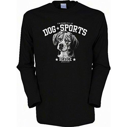 Langarm-Shirt mit Hunde Motiv geil bedruckt / Dog Sports - Beagle ! Schwarz