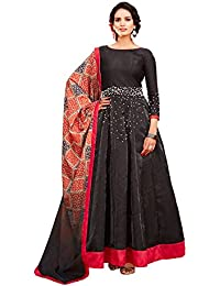 AnK Women's Black Banglori EmbroideredLong Semi-Stitched Salwar Suit With Printed Dupatta With Printed Dupatta